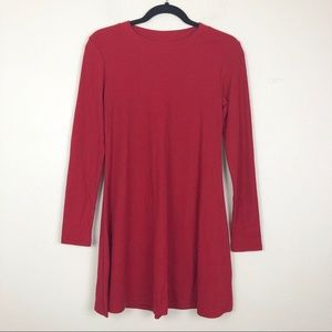 Red Ribbed Knit Long Sleeve Dress